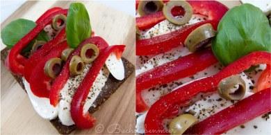 Mozarella Paprika Oliven Brot