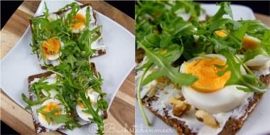 Brot Ei, Nüsse und Ruccola